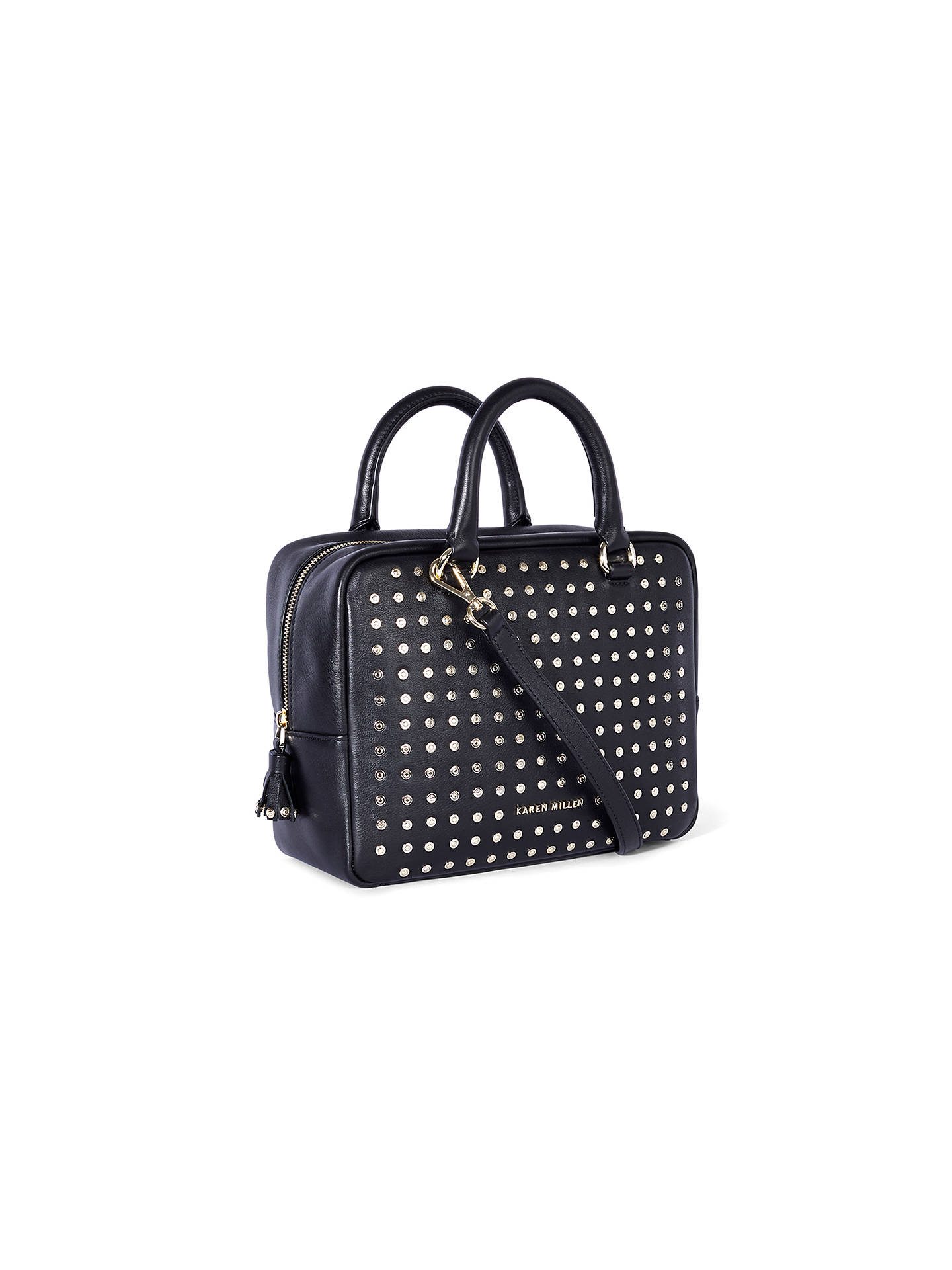 c252c4e896 ... Buy Karen Millen Large Leather Stud Bowling Bag, Black Online at  johnlewis.com ...