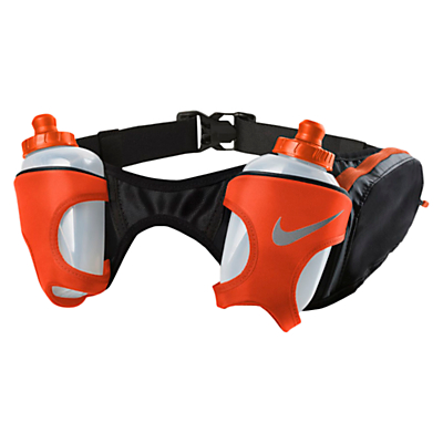 Nike Double Flask Running Belt, Black/Red