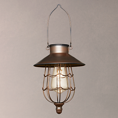 John Lewis Solar LED Hanging Outdoor Steel Lantern, Copper