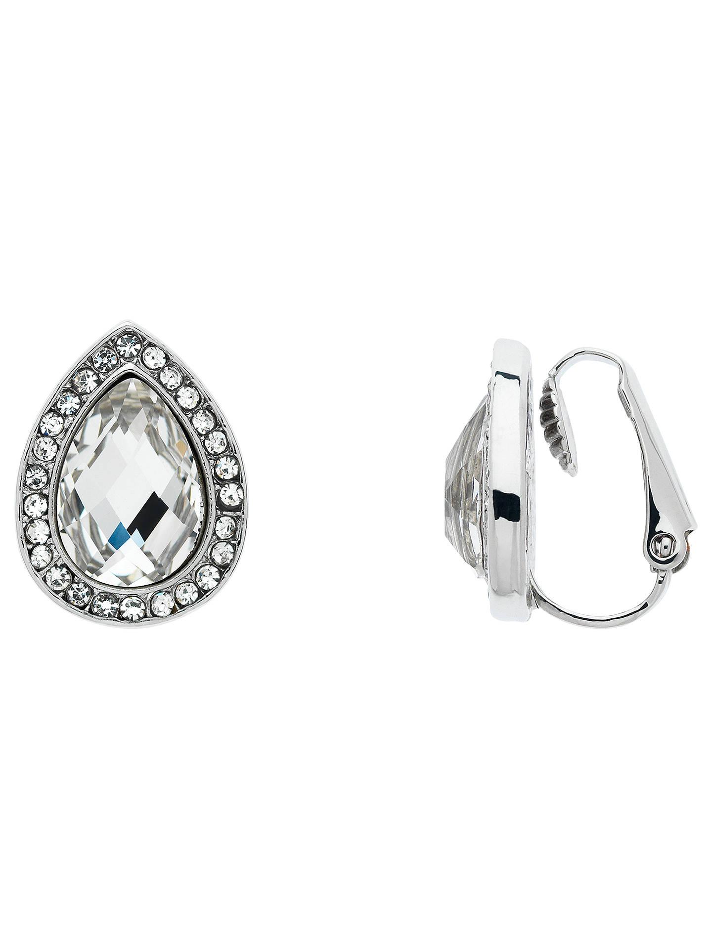 Monet Gl Crystal Teardrop Clip On Stud Earrings Silver Clear Online At Johnlewis
