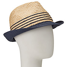 Buy John Lewis Packable Stripe Trilby Hat, Natural/Navy Online at johnlewis.com