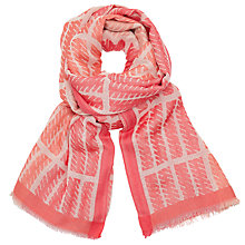 Buy John Lewis Box Stripe Cotton Scarf, Coral/Multi Online at johnlewis.com
