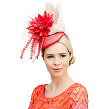 Buy Rebecca Couture Elsa Pillbox Feather Quills Flower Occasion Hat, Hot Pink/Champagne Online at johnlewis.com