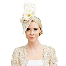 Buy Rebecca Couture Tori Calla Lily Disc Occasion Hat, Champagne/Ivory Online at johnlewis.com