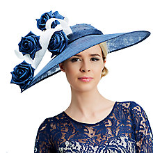 Buy Rebecca Couture Lilly Disc and Rose Flower Applique Occasion Hat, Dark Blue/White Online at johnlewis.com