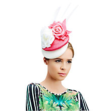 Buy Rebecca Couture Orla Double Pillbox Quills Fascinator, Hot Pink/White Online at johnlewis.com