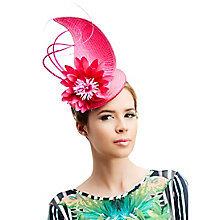 Buy Rebecca Couture Ivy Pillbox Pointed Detail Occasion Hat, Bright Pink Online at johnlewis.com
