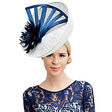 Buy Rebecca Couture Elsie Upturn Disc Flower Detail Occasion Hat, White/Cobalt Online at johnlewis.com