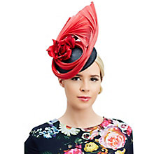 Buy Rebecca Couture Zoe Pillbox and Fan Occasion Hat, Black/Red Online at johnlewis.com