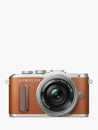 "Olympus PEN E-PL8 Compact System Camera with 14-42mm EZ Lens, HD 1080p, 16.1MP, 3"" LCD Touch Screen, Tan"