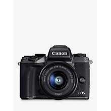 "Buy Canon EOS M5 Compact System Camera with EF-M 15-45mm IS STM lens, HD 1080p, 24.2MP, Wi-Fi, Bluetooth, NFC, 3.2"" LCD Tiltable Touch Screen with Lens Mount Adapter Online at johnlewis.com"