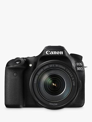 "Canon EOS 80D Digital SLR Camera With 18-135mm Lens, HD 1080p, 24.2MP, Wi-Fi, NFC, 3"" Vari-Angle Touchscreen"