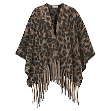 Buy Betty Barclay Animal Fringed Knitted Poncho, Cream/Grey Online at johnlewis.com