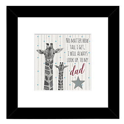 East Of India – Giraffe Look Up To Dad Framed Print, 27 x 27cm