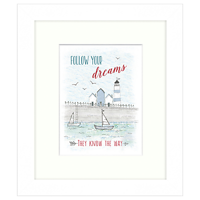 East Of India – Follow Your Dreams Framed Print, 23 x 27cm