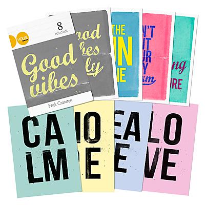 Nick Cranston - Typographic Postcards, Pack of 8