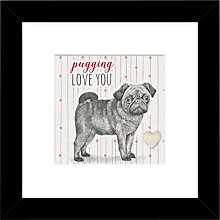 Buy East Of India - Pugging Love You Framed Print, 27 x 27cm Online at johnlewis.com