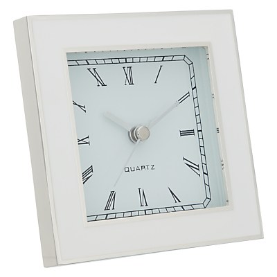 John Lewis Amy Silver Plated Mantel Clock, Cream