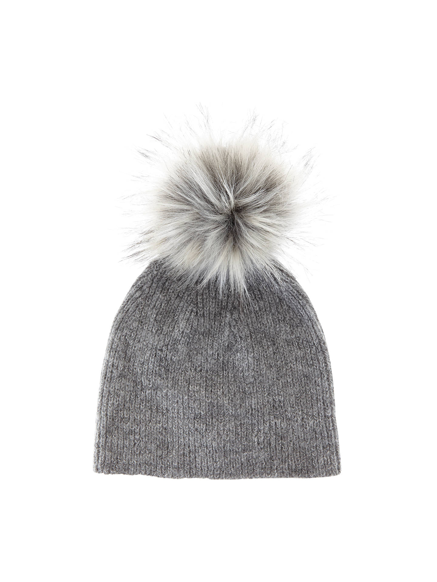 Mint Velvet Knitted Faux Fur Pom Pom Hat at John Lewis   Partners 9adc55dabed
