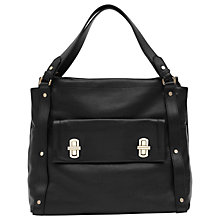 Buy Reiss Lexie Turnlock Detail Shoulder Bag, Black Online at johnlewis.com