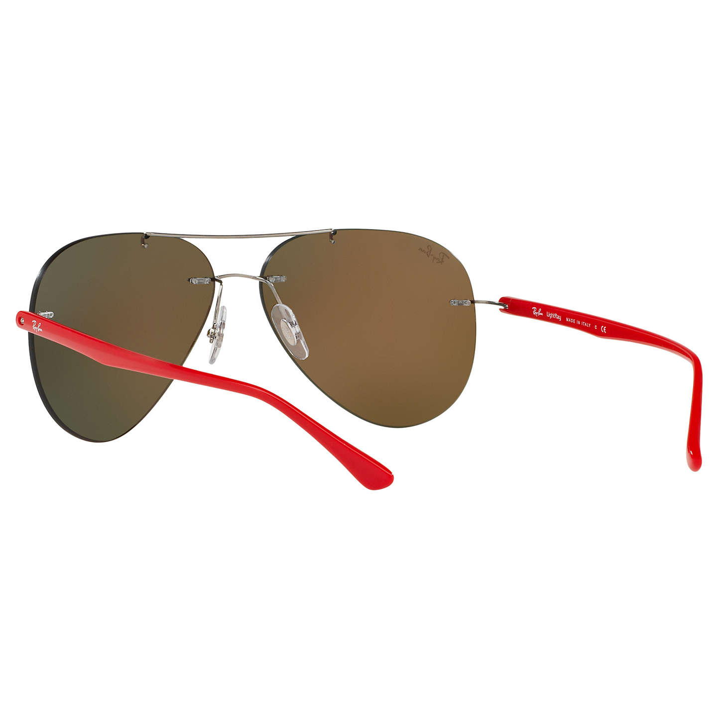 BuyRay-Ban RB8058 Frameless Aviator Sunglasses, Red/Mirror Orange Online at johnlewis.com