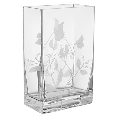 John Lewis Sweet Pea Cube Vase, H21cm, Clear
