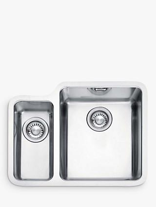 Franke Kubus KBX 160 34-16 Right Hand 1.5 Bowl Undermounted Kitchen Sink, Stainless Steel