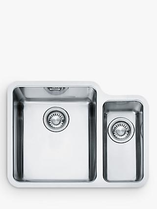 Franke Kubus KBX 160 34-16 1.5 Left Hand Bowl Undermounted Kitchen Sink, Stainless Steel