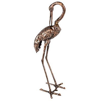 Ivyline Crane 'Head Down' Garden Ornament, 71cm, Bronze