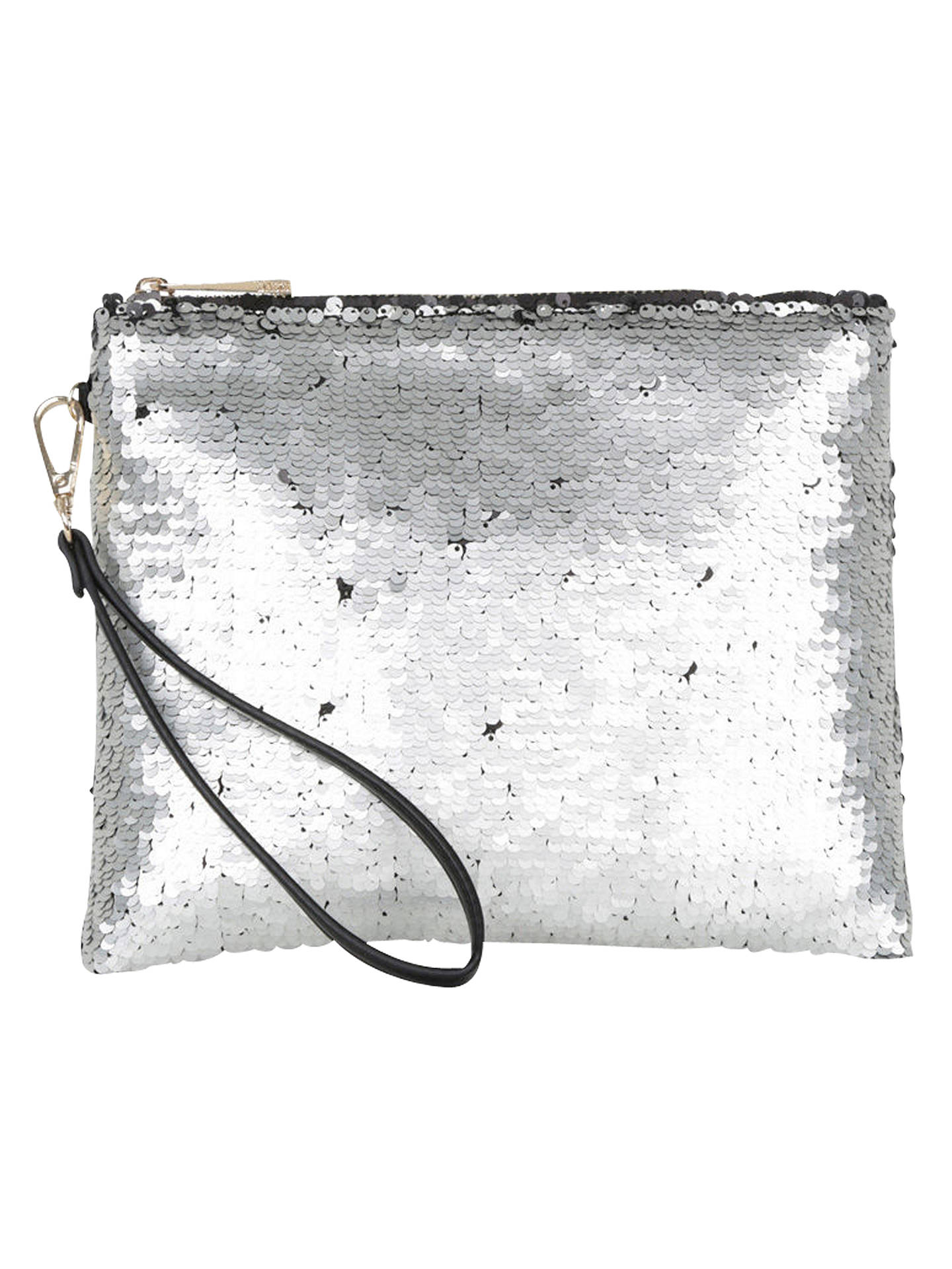 317402e2866d Buy Oasis Sequin Clutch, Silver Online at johnlewis.com ...