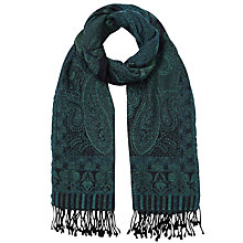 Buy East Paisley Woven Scarf, Teal Online at johnlewis.com