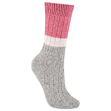 Buy John Lewis Wool and Silk Blend Ribbed Colour Block Ankle Socks, Marl Grey/Candy Pink Online at johnlewis.com