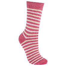 Buy John Lewis Wool Silk Blend Stripe Ankle Socks, Pink/Oatmeal Online at johnlewis.com