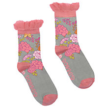 Buy Powder Short Oriental Flower Ankle Socks, Grey/Pink Online at johnlewis.com