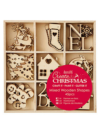 Docrafts Mixed Wooden Christmas Shapes Pack Of 45 Brown At