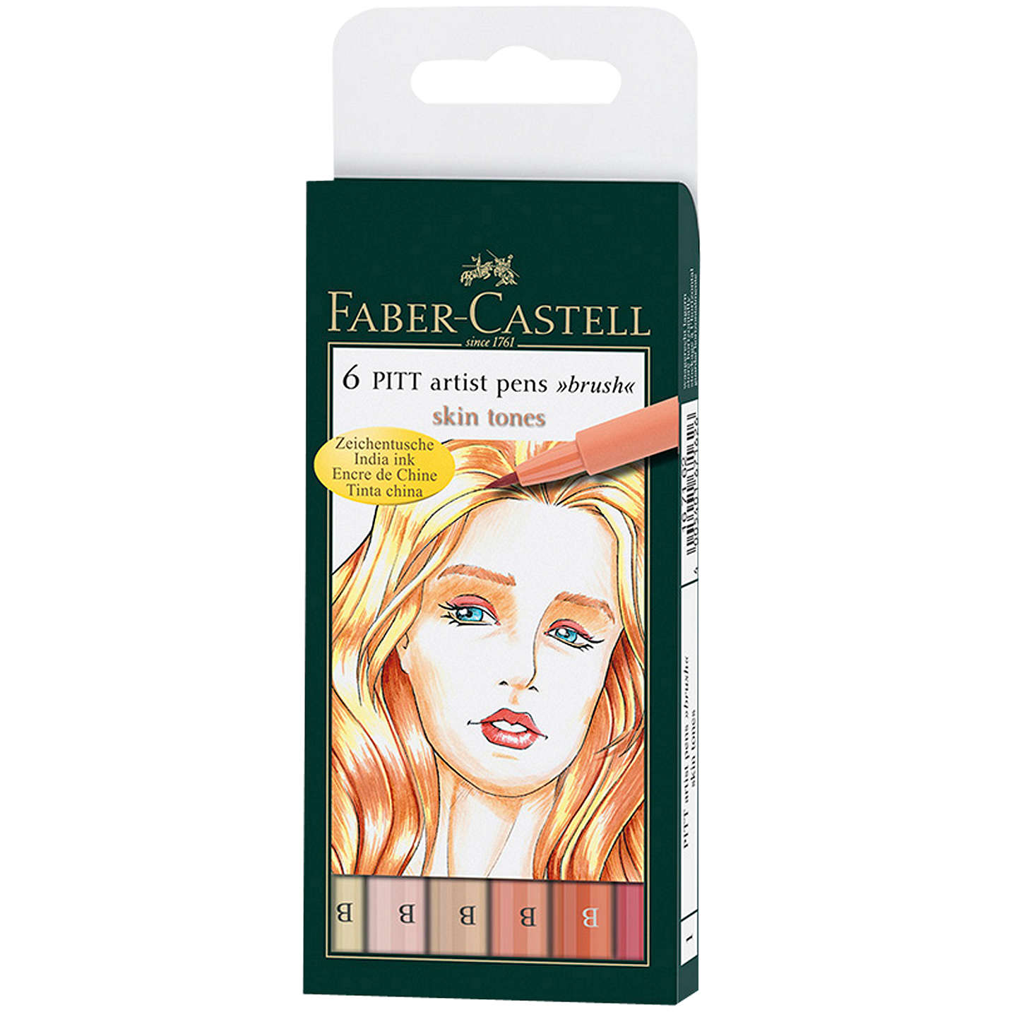 BuyFaber-Castell Pitt Artists Pens, Pack of 6, Skin Tones Online at johnlewis.com