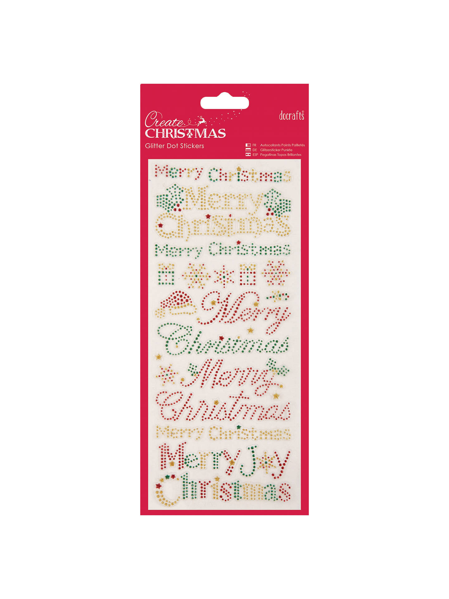 Docrafts Merry Christmas Glitter Dot Stickers Red Gold Online At Johnlewis