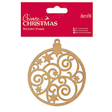 Buy Docrafts Wooden Shape Bauble, Brown Online at johnlewis.com
