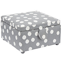 Buy John Lewis Spot Print Small Square Sewing Basket, Grey Online at johnlewis.com