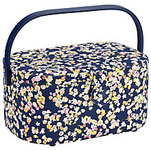 Buy John Lewis Oval Modern Ditsy Sewing Basket, Blue Online at johnlewis.com
