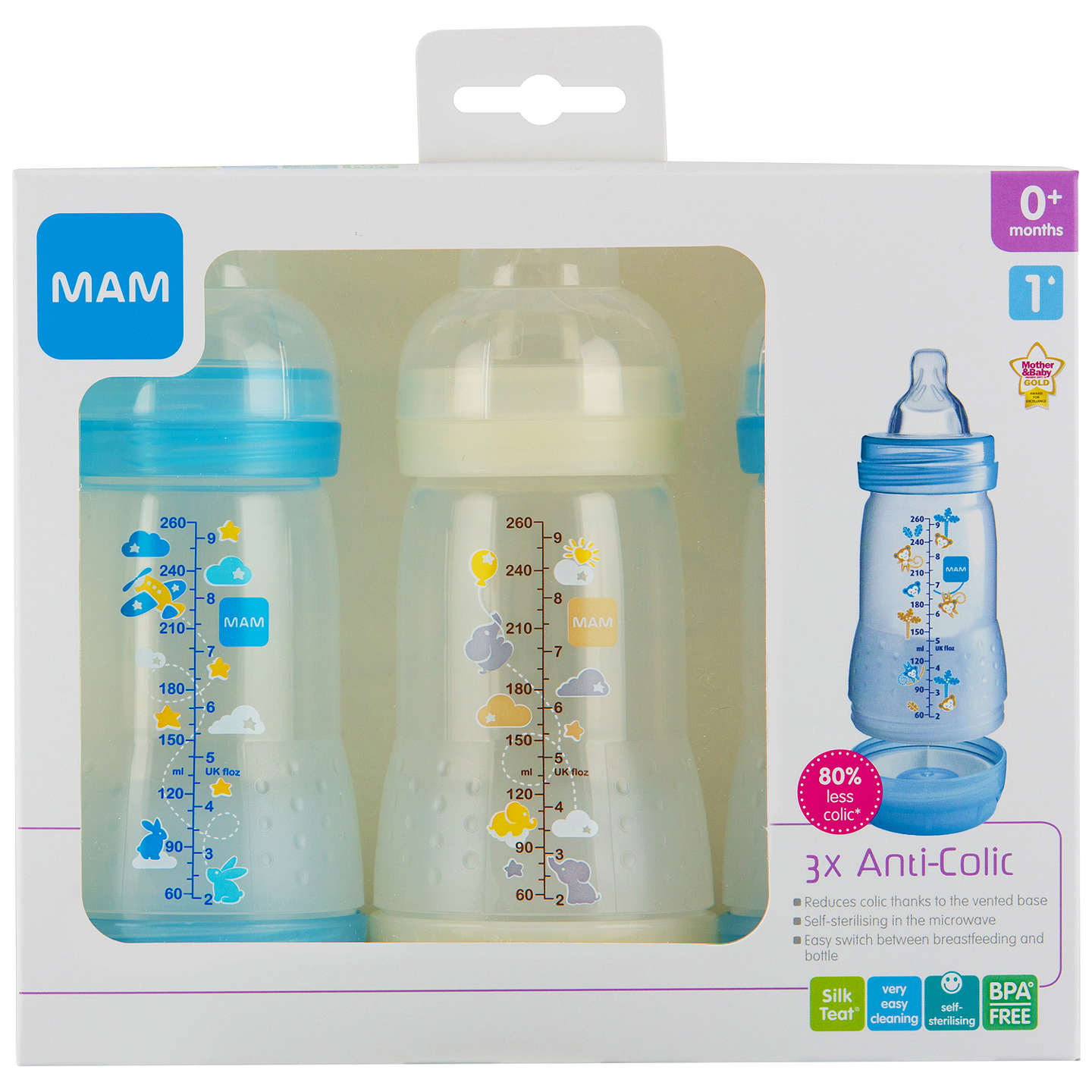BuyMAM Anti-Colic Baby Bottle, 260ml, Pack of 3, Blue Online at johnlewis.com