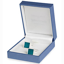 Buy Simon Carter for John Lewis Silver Plated Square Enamel Dot Cufflinks, Teal Online at johnlewis.com