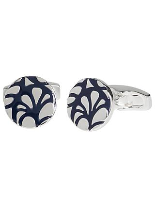 Simon Carter for John Lewis Silver Plated Round Embossed Cufflinks, Navy