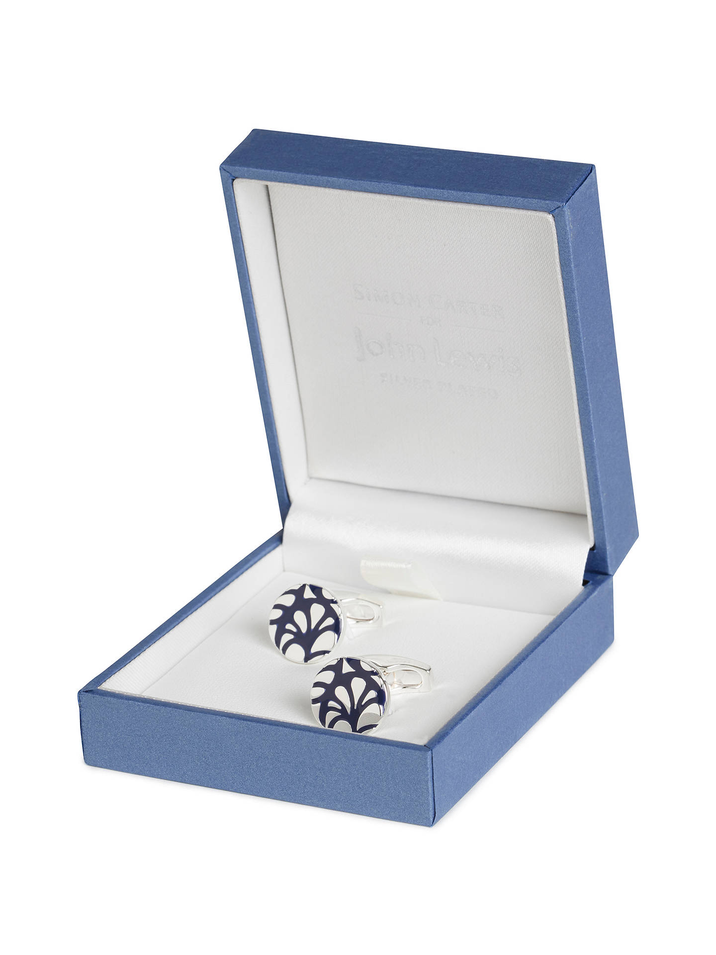 BuySimon Carter for John Lewis Silver Plated Round Embossed Cufflinks, Navy Online at johnlewis.com