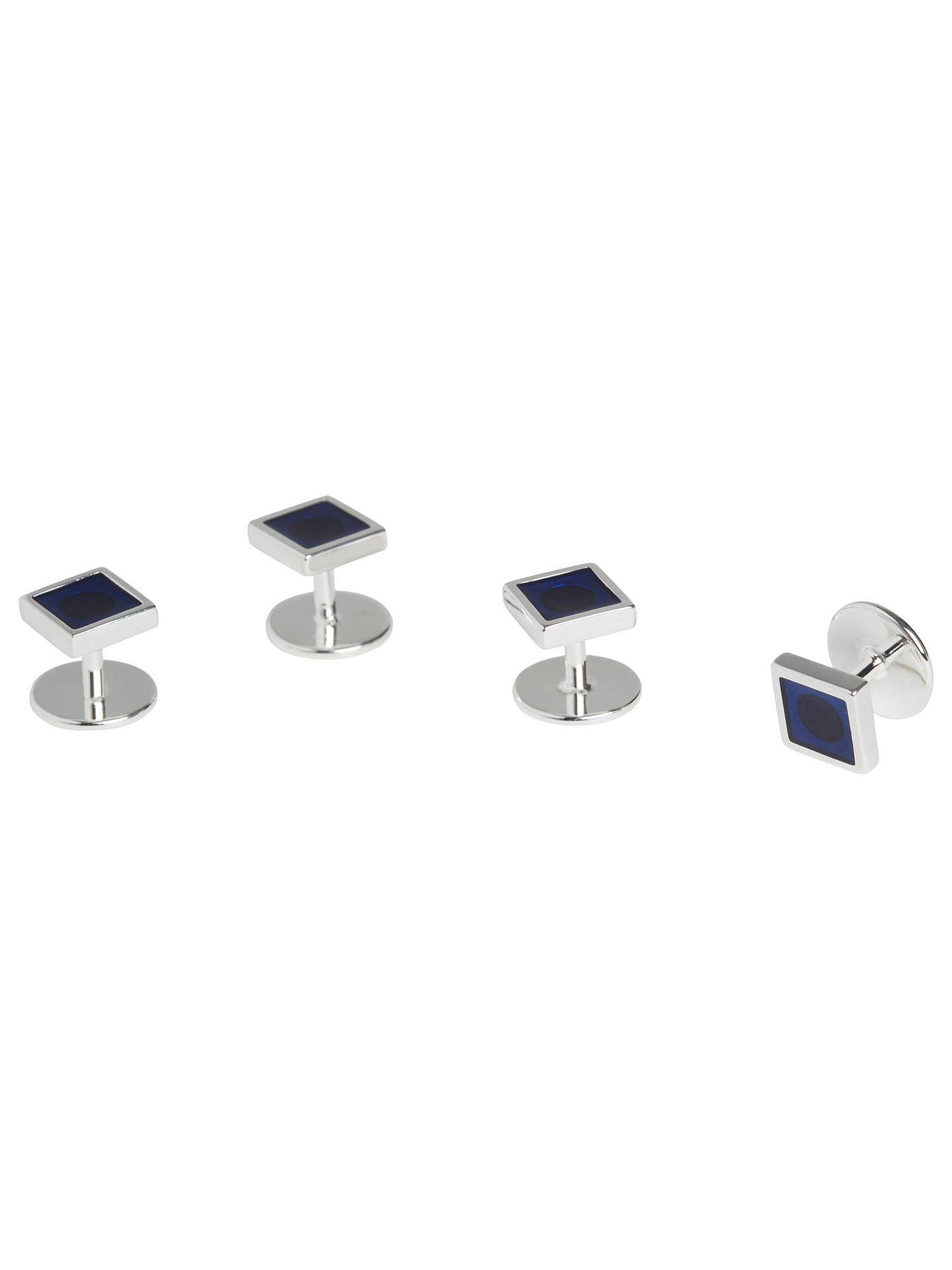 BuySimon Carter for John Lewis Silver Plated Dress Studs, Silver/Blue Online at johnlewis.com