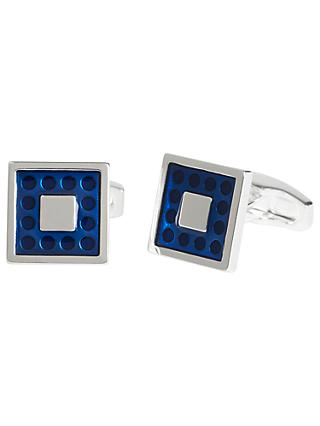 Simon Carter for John Lewis Silver Plated Enamel Dot Square Cufflinks, Navy