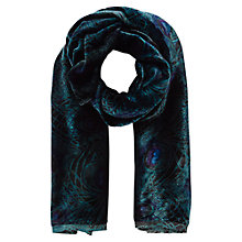 Buy East Peacock Devore Scarf, Teal Online at johnlewis.com