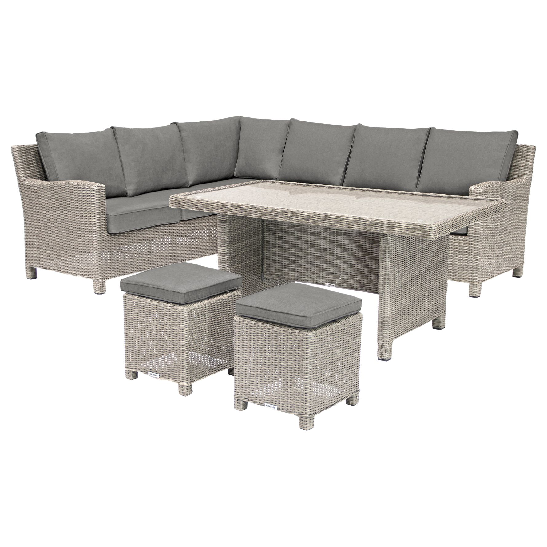 Kettler KETTLER Palma 8 Seater Garden Corner Set With Glass Top Table