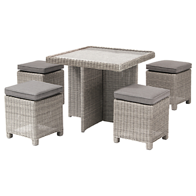 KETTLER Palma 4 Seater Cube Set With Glass Top Table