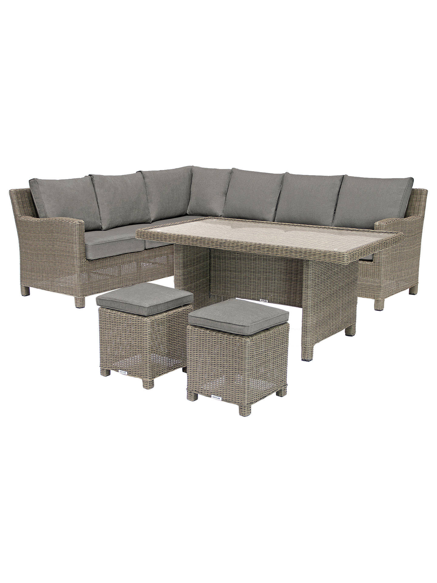 062bc107c03f Buy KETTLER Palma 7 Seater Garden Corner Set With Glass Top Table, Natural  Online at